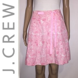 J. Crew Flirty Pink Floral A-Line Pleated Skirt